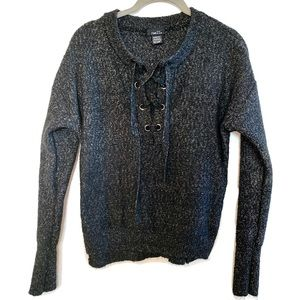 Rue21 Charcoal Lace Up Pullover Sweater